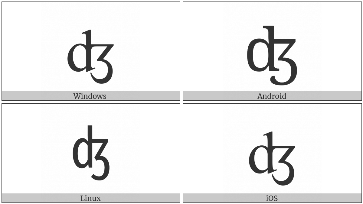 Latin Small Letter Dezh Digraph on various operating systems