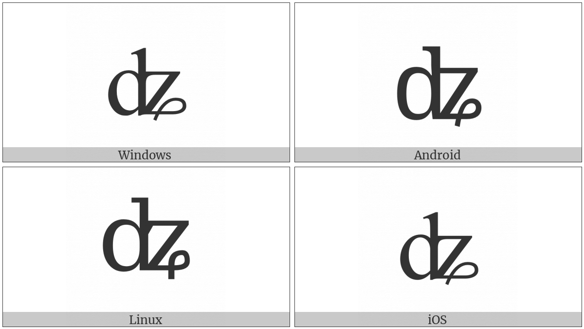 Latin Small Letter Dz Digraph With Curl on various operating systems