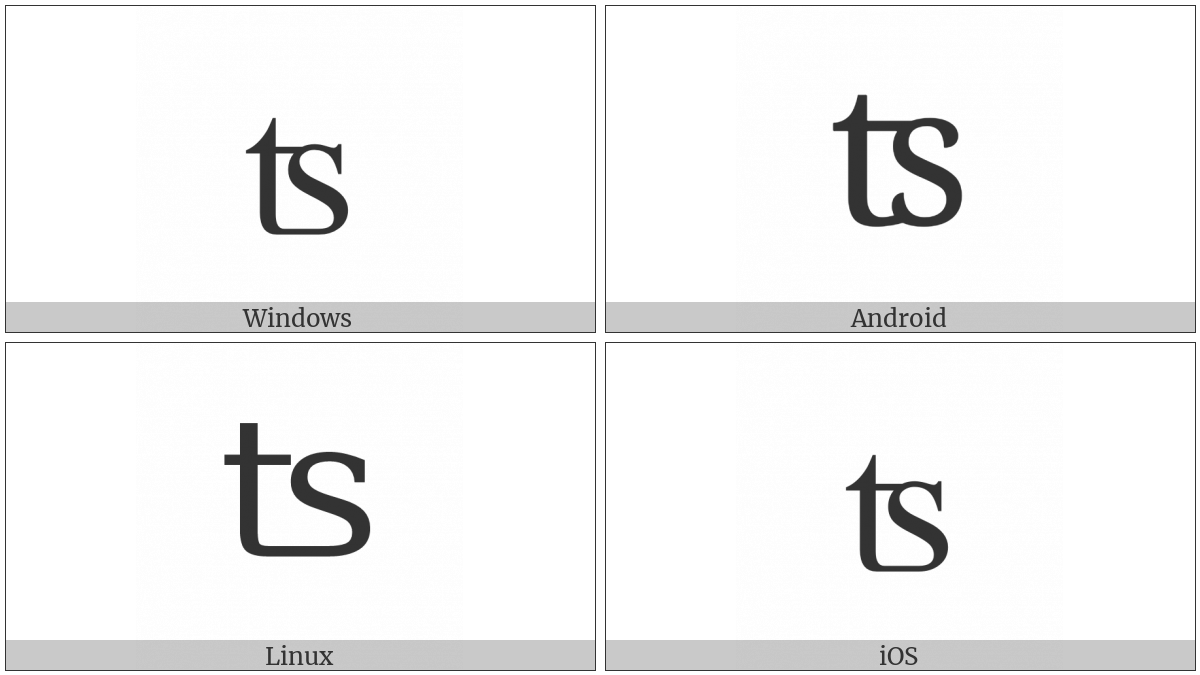 Latin Small Letter Ts Digraph on various operating systems