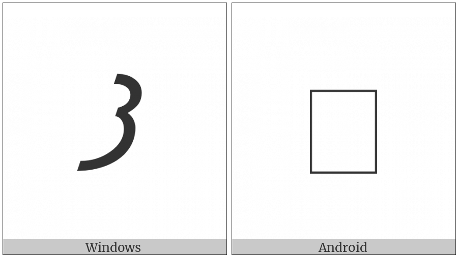 Meroitic Cursive Letter Ma on various operating systems