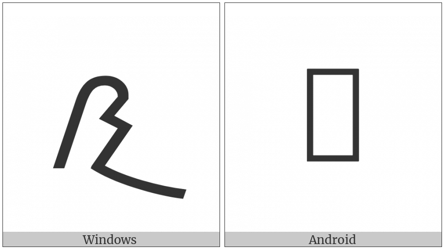 Meroitic Cursive Letter Na on various operating systems