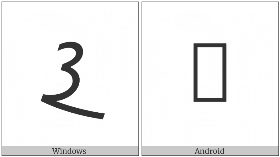Meroitic Cursive Letter Ka on various operating systems