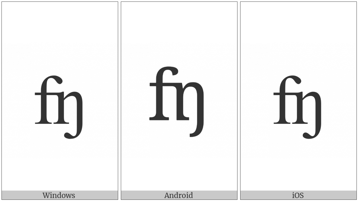 Latin Small Letter Feng Digraph on various operating systems