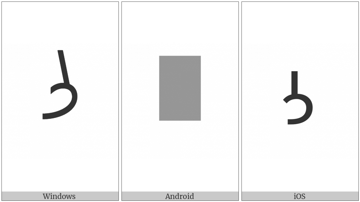 Inscriptional Parthian Letter Lamedh on various operating systems