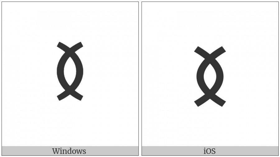 Old Turkic Letter Yenisei E on various operating systems