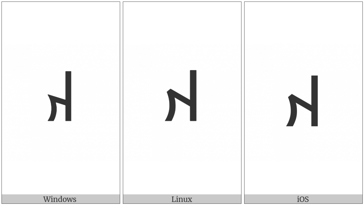 Old Turkic Letter Orkhon Aq on various operating systems