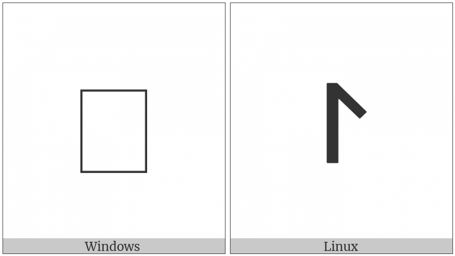 Old Hungarian Small Letter Ej on various operating systems