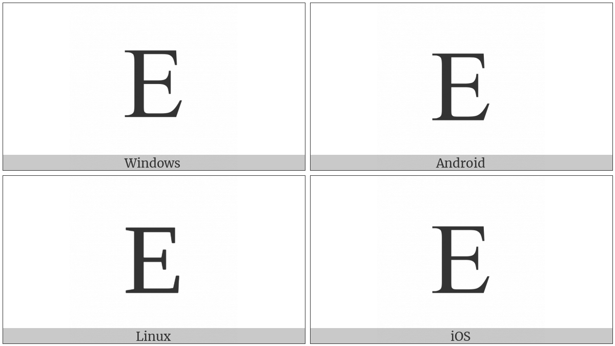 Latin Capital Letter E on various operating systems
