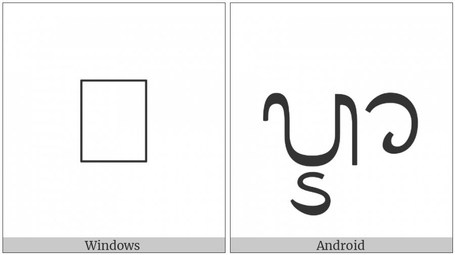 Balinese Letter Ra Repa Tedung on various operating systems