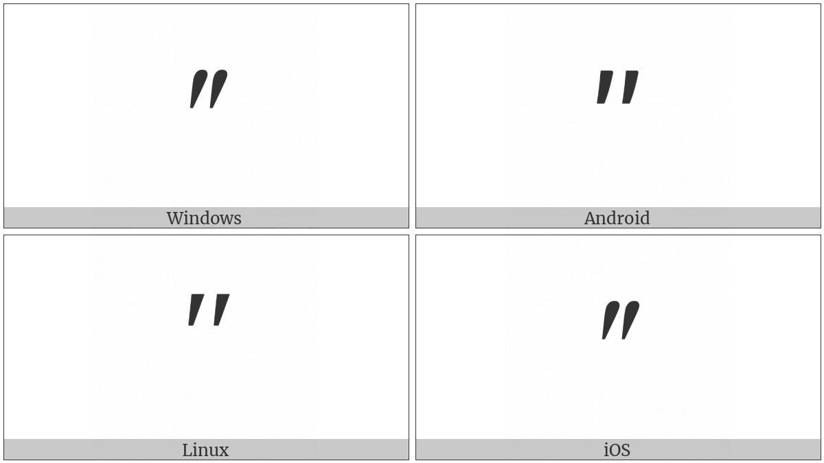 Modifier Letter Double Prime on various operating systems