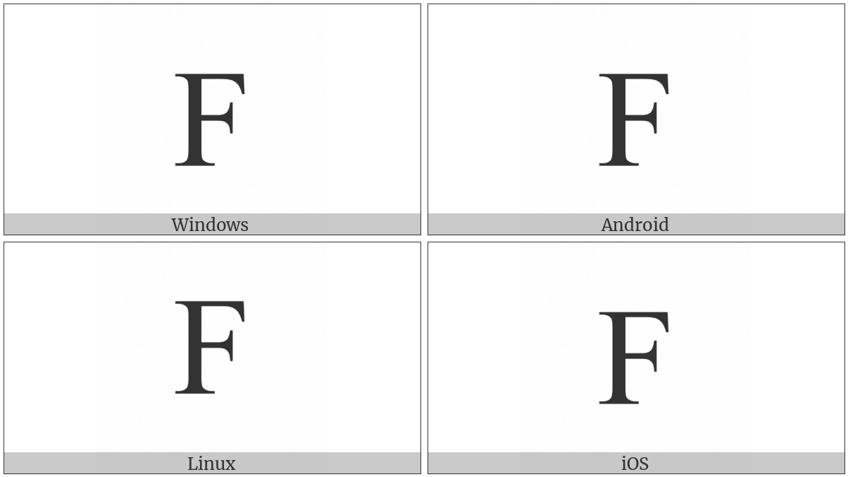 Latin Capital Letter F on various operating systems