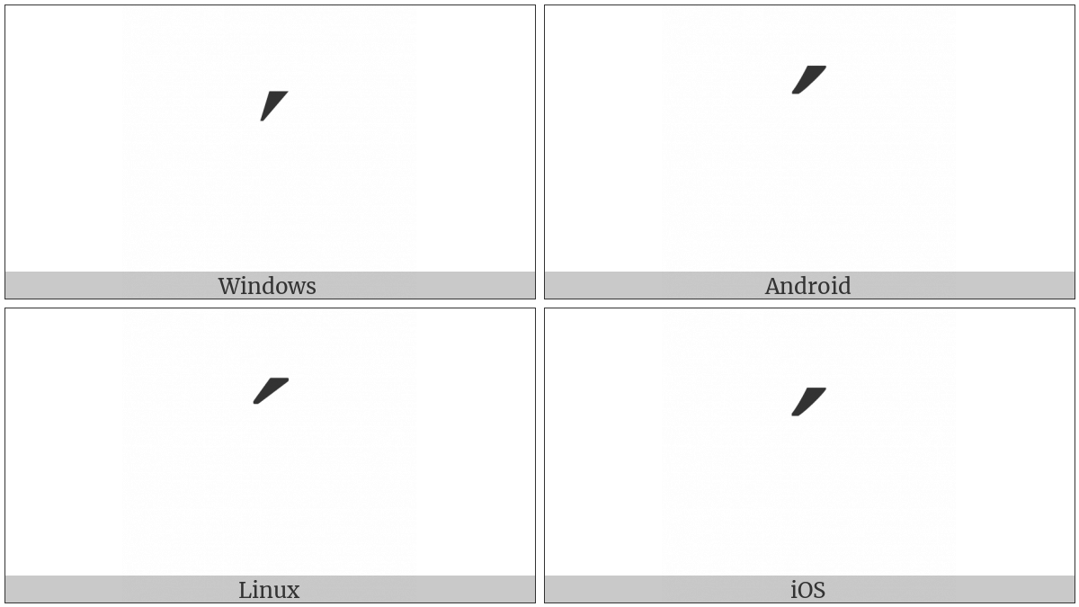 Modifier Letter Acute Accent on various operating systems