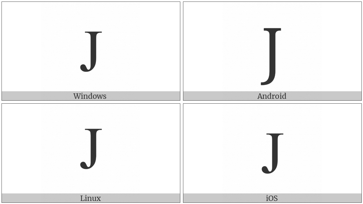 Latin Capital Letter J on various operating systems