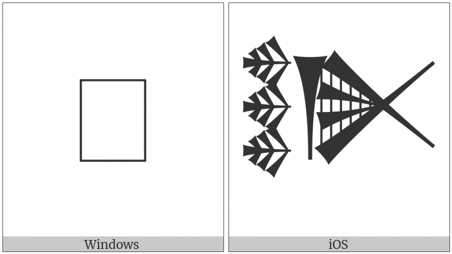 Cuneiform Sign Lak-219 on various operating systems