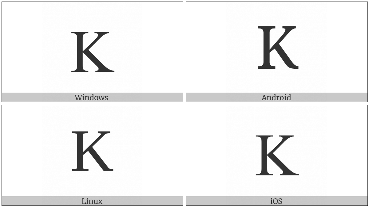 Latin Capital Letter K on various operating systems