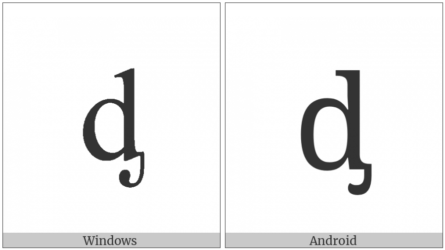 Latin Small Letter D With Palatal Hook on various operating systems