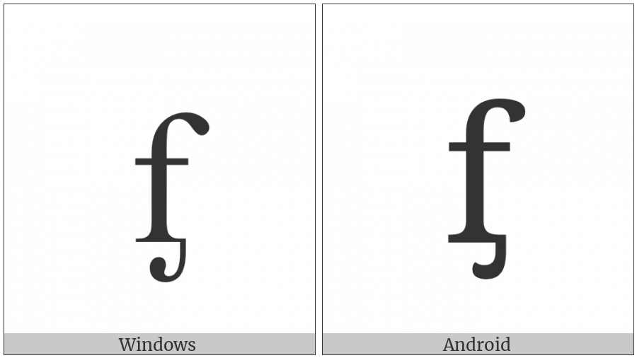 Latin Small Letter F With Palatal Hook on various operating systems