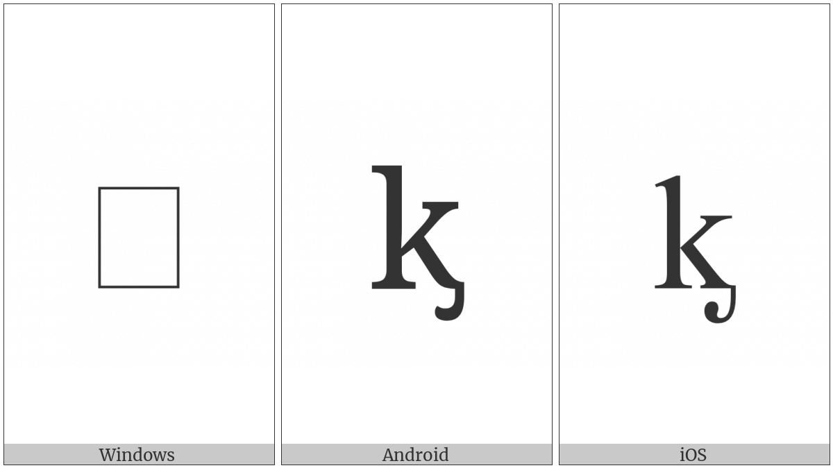 Latin Small Letter K With Palatal Hook on various operating systems