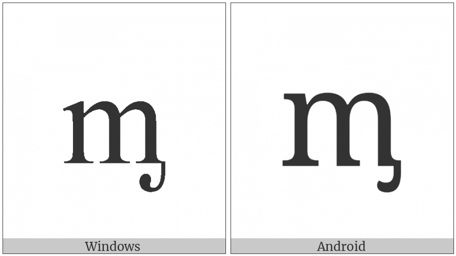Latin Small Letter M With Palatal Hook on various operating systems