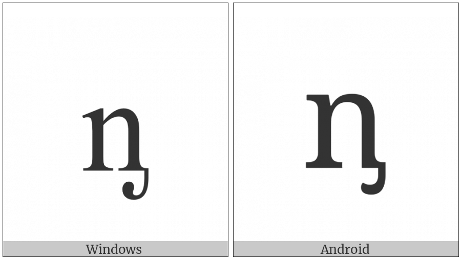 Latin Small Letter N With Palatal Hook on various operating systems