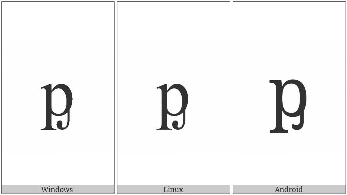 Latin Small Letter P With Palatal Hook on various operating systems