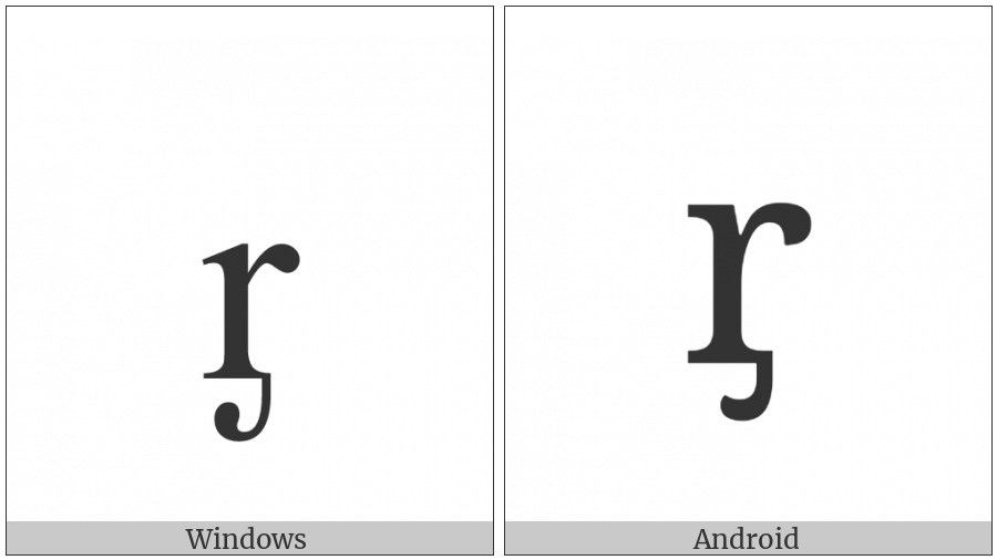 Latin Small Letter R With Palatal Hook on various operating systems