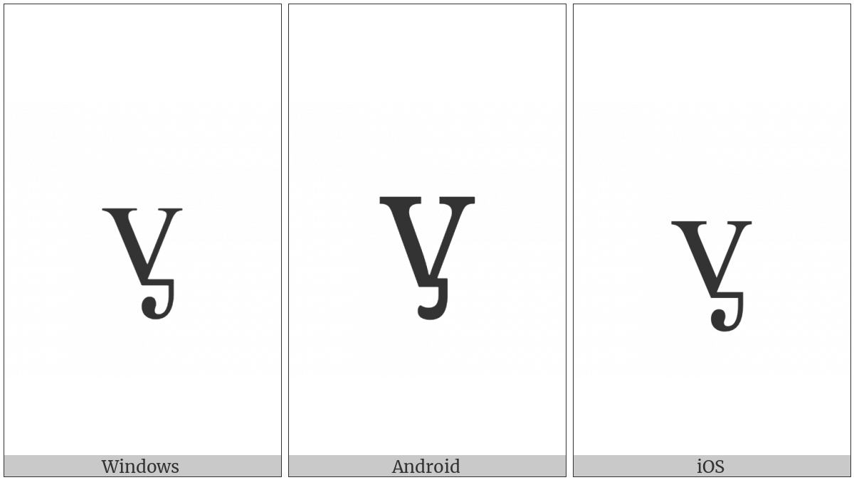 Latin Small Letter V With Palatal Hook on various operating systems