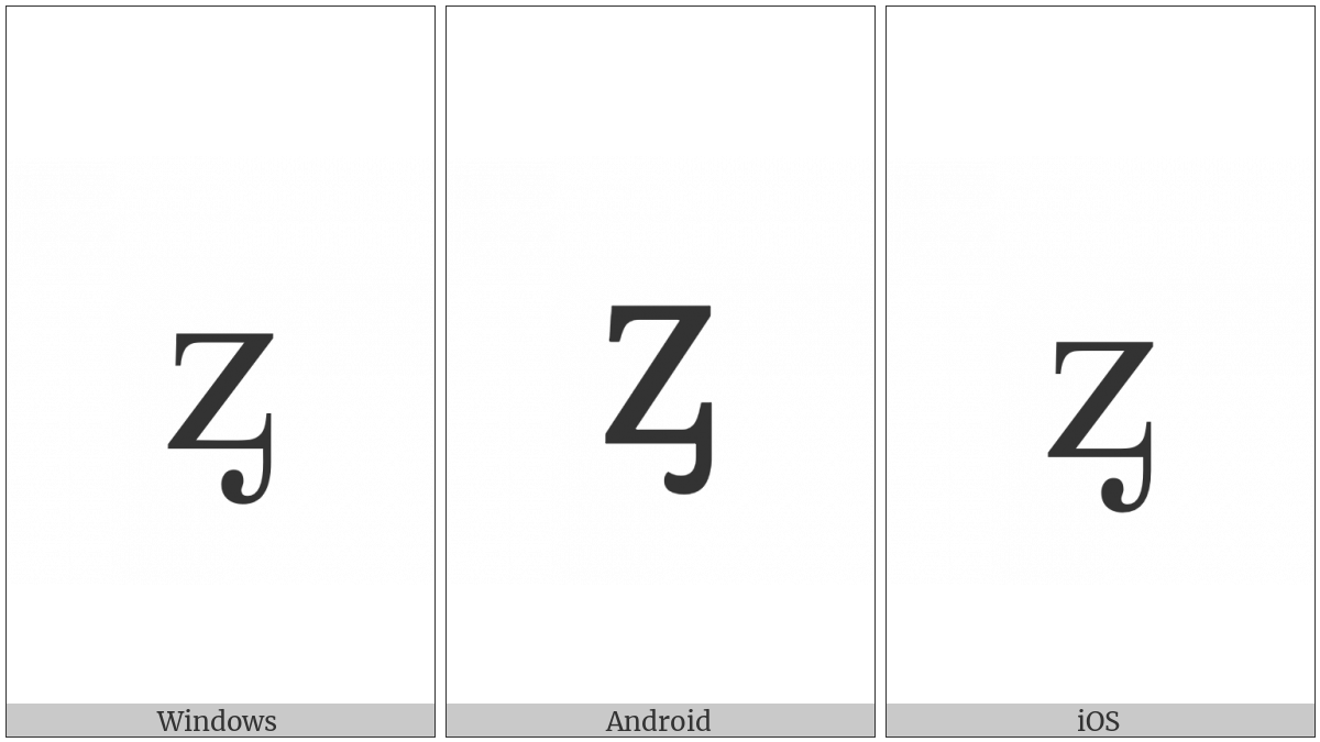 Latin Small Letter Z With Palatal Hook on various operating systems