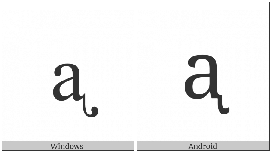 Latin Small Letter A With Retroflex Hook on various operating systems