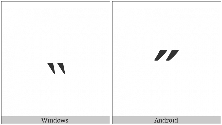 Modifier Letter Middle Double Grave Accent on various operating systems
