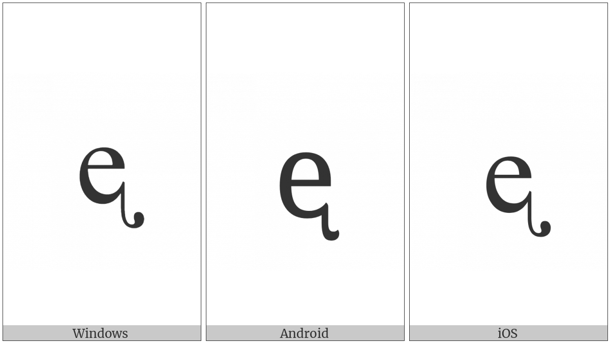 Latin Small Letter E With Retroflex Hook on various operating systems