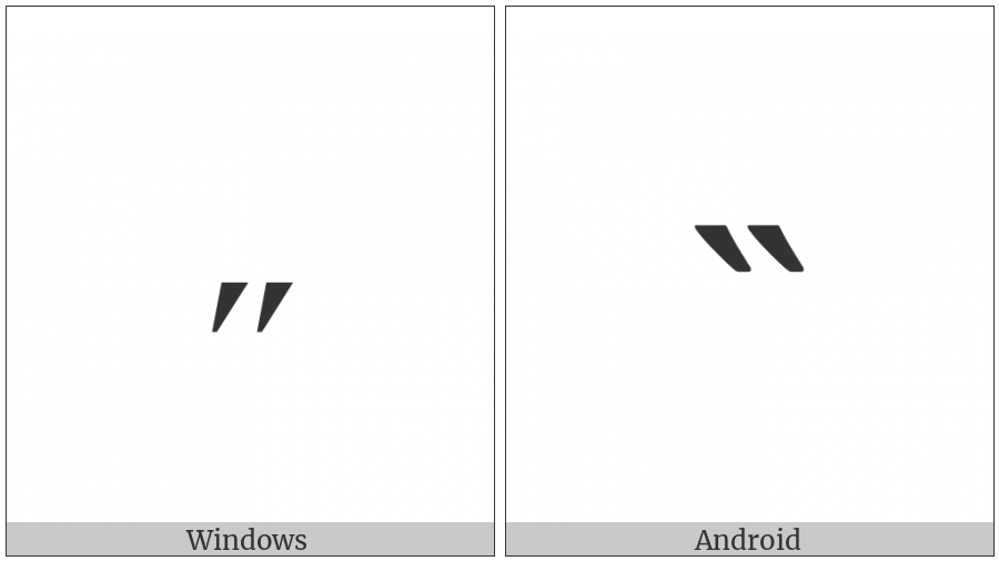 Modifier Letter Middle Double Acute Accent on various operating systems