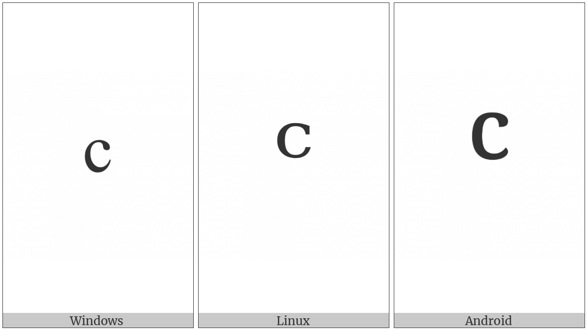 Modifier Letter Small C on various operating systems