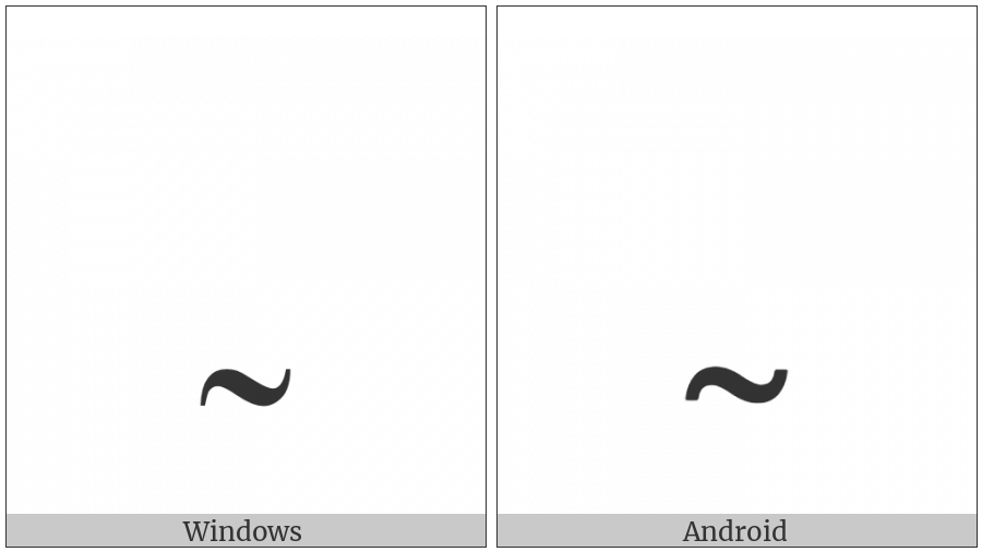 Modifier Letter Low Tilde on various operating systems