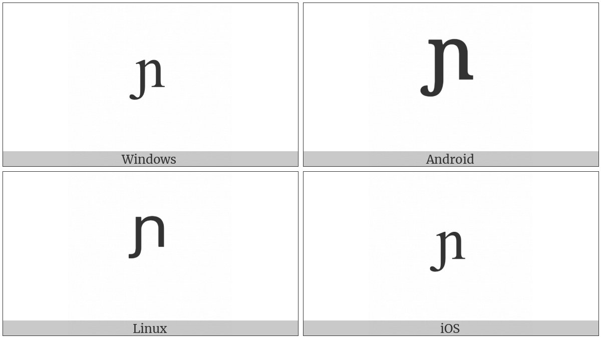 Modifier Letter Small N With Left Hook on various operating systems