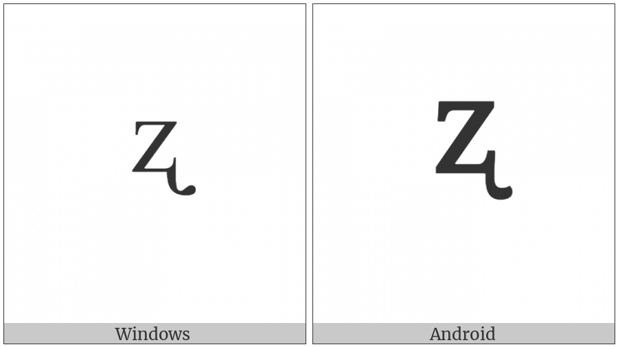 Modifier Letter Small Z With Retroflex Hook on various operating systems