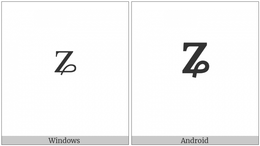 Modifier Letter Small Z With Curl on various operating systems
