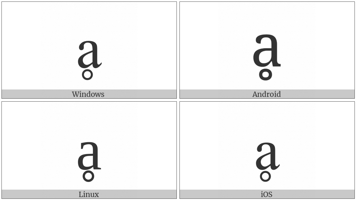 Latin Small Letter A With Ring Below on various operating systems