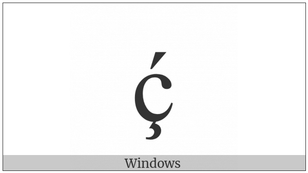 Latin Small Letter C With Cedilla And Acute on various operating systems