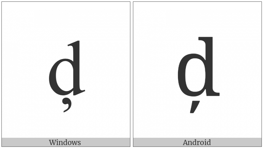 Latin Small Letter D With Cedilla on various operating systems