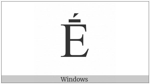 Latin Capital Letter E With Macron And Acute on various operating systems