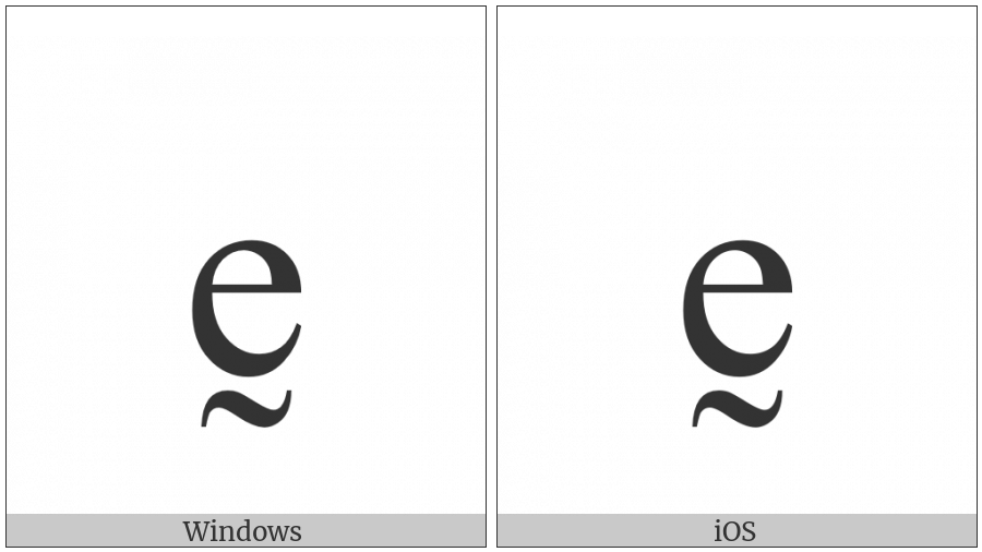 Latin Small Letter E With Tilde Below on various operating systems