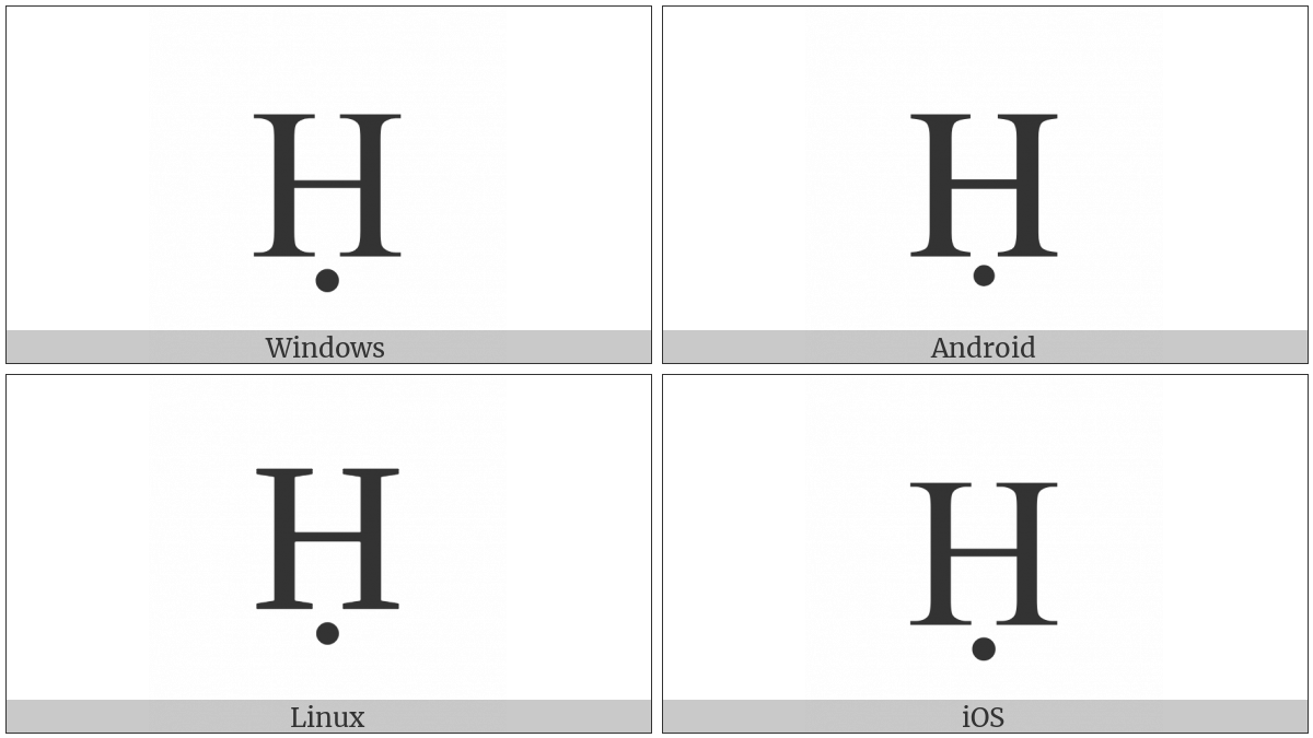 Latin Capital Letter H With Dot Below on various operating systems