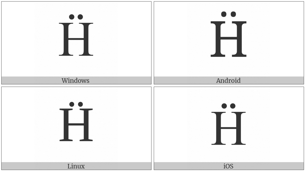 Latin Capital Letter H With Diaeresis on various operating systems