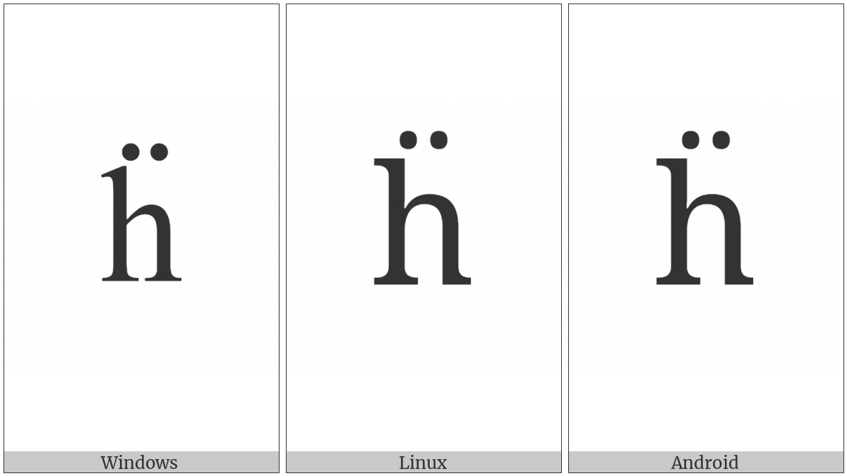 Latin Small Letter H With Diaeresis on various operating systems