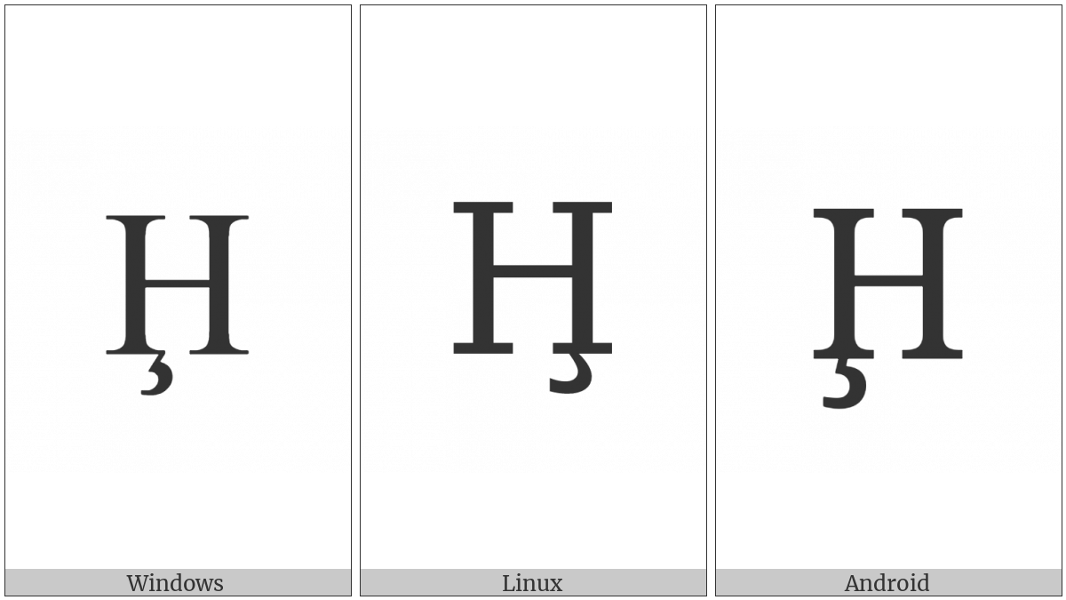 Latin Capital Letter H With Cedilla on various operating systems