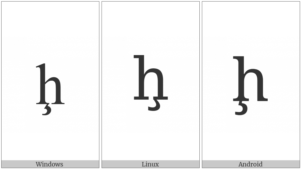 Latin Small Letter H With Cedilla on various operating systems