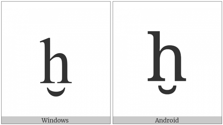 Latin Small Letter H With Breve Below on various operating systems