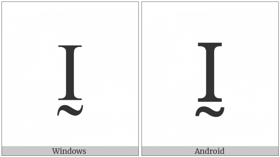 Latin Capital Letter I With Tilde Below on various operating systems