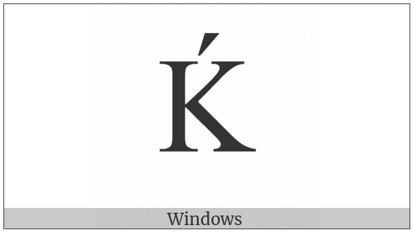 Latin Capital Letter K With Acute on various operating systems